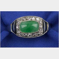Art Deco Platinum and Gem-set Ring