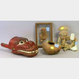Pre-Columbian Pottery Figure, a Group, Small Pot, and an Ethnographic Painted Wooden Mask.