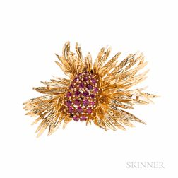 14kt Gold and Ruby Brooch