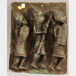 Benin-style Bronze High Relief Figural Plaque
