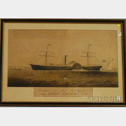 Endicott & Co. Lithograph The United States & Brazil Mail Steamship Co. Steamship   America