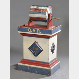 G.A.R. Red, White, and Blue Painted Wooden Plinth with Drum Tumbler