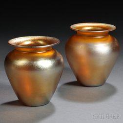 Pair of Durand Gold Iridescent Vases