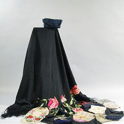 Ten Beaded and Embroidered Bags and a Piano Shawl