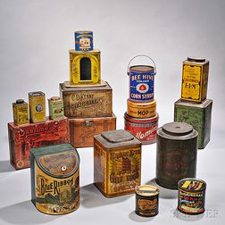 Eighteen Lithographic Tin Containers