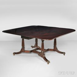 """Carved Mahogany """"Cumberland"""" Dining Table"""