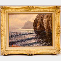 Guido Odierna (Italian, 1913-1991)      Coastal View with Rocks.