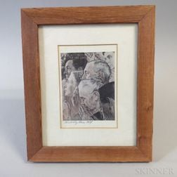 Framed Norman Rockwell Postcard Signed by Rose Hoyt.     Estimate $20-30