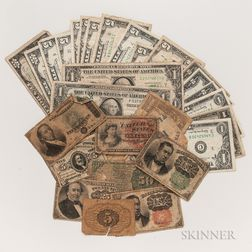 Group of Paper Money and Fractional Notes