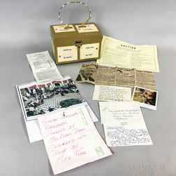 Box Purse with Signed Ronald Reagan Inaugural Luncheon Place Cards