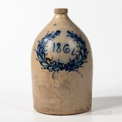 "Large Cobalt-decorated ""1861"" Stoneware Jug"