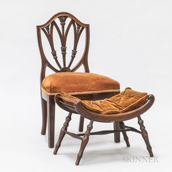 Federal-style Carved Mahogany Side Chair and a Scrolled Bench