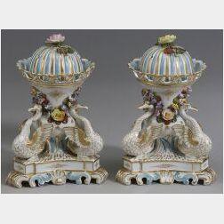 Pair of Meissen-style Porcelain Potpourri Urns