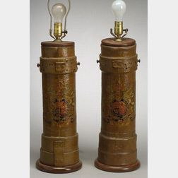 Pair of English Painted Canvas Artillery Vessel Lamp Bases