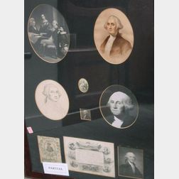 Lot of Four Framed George Washington Items.