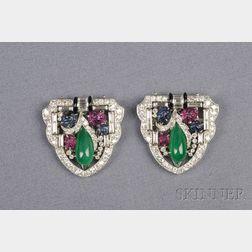 Art Deco Platinum and Gem-set Dress Clips