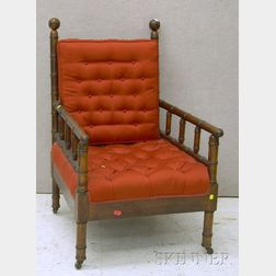 Late Victorian Upholstered Walnut Bamboo-turned Morris Chair.