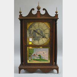 Mahogany Pillar and Scroll Shelf Clock