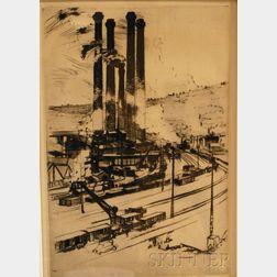 Robert Fulton Logan (Canadian, 1899-1959)      Factory Scene.