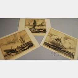 Gordon Hope Grant (American, 1875-1962)      Lot of Three Lithographs of Sailing Ships.