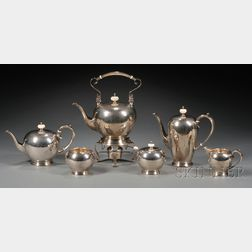 Six Piece Porter Blanchard Arts & Crafts Sterling Tea and Coffee Service