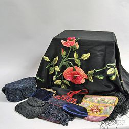 Five Beaded and Embroidered Bags and a Piano Shawl