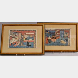 Toyokuni III (1786-1864), Two Prints from the Series Chushingura-Tale of the Forty-Seven Ronin
