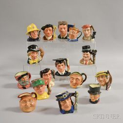 Sixteen Small Royal Doulton Ceramic Character Jugs