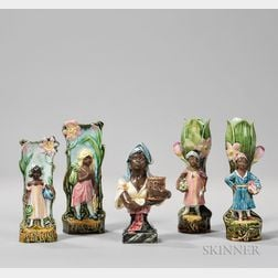 Five Small Majolica Vases Decorated with Images of African American Women.     Estimate $150-250
