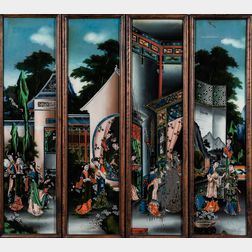 Set of Four Reverse-paintings on Glass