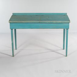 Blue-painted School Desk