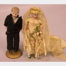 Bisque Doll House Man and Bride