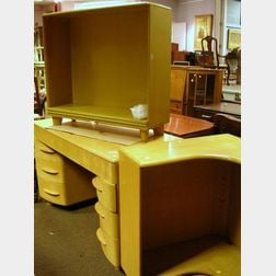 Heywood Wakefield Maple Kneehole Desk, Bookcase, and a Corner Bookcase