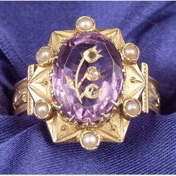 Antique 14kt Gold, Amethyst and Seed Pearl Intaglio Ring