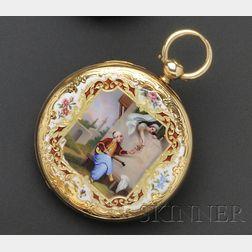 Antique 18kt Gold Open Face Enamel Pocket Watch, Badollet
