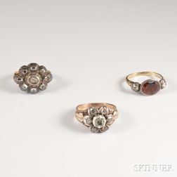 Three Gold and Rose-cut Diamond Rings