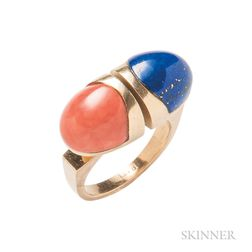 18kt Gold, Coral, and Lapis Ring