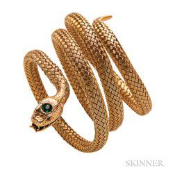 Antique 14kt Gold Snake Bracelet, Carter, Howe & Co.