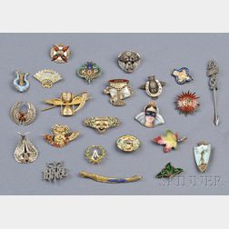 Group of Antique and Vintage Mardi Gras Fraternal Society Related Pins