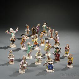 Fourteen Assembled Meissen Porcelain Monkey Band Figures