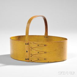 Shaker Yellow-painted Oval Fixed Handle Carrier