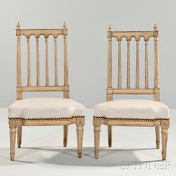 Two Diminutive Louis XVI-style Painted Chairs