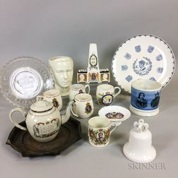 Fourteen Mostly British Commemorative Glass and Ceramic Items