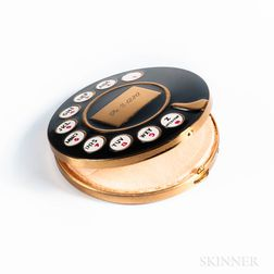 Vintage Enameled and Brass Rotary Telephone Compact