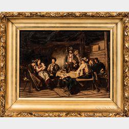 European or Austrian School, 19th/20th Century       A Flirtatious Exchange, Figures Gathered around a Tavern Table