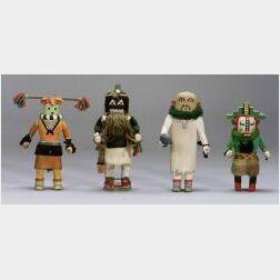 Four Southwest Polychrome Carved Wood Kachinas