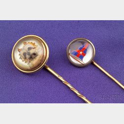 Two 14kt Gold and Reverse Painted Crystal Stickpins