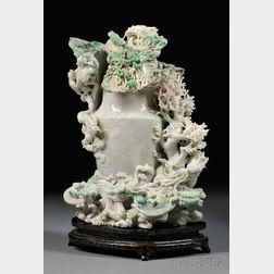 Monumental Jadeite Covered Vase