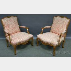 Pair of Louis XV-style Batik-style Pattern Upholstered Carved Walnut Fauteuil.