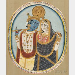 Portrait of Krishna and Radha